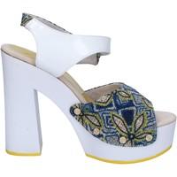 Scarpe Donna Sandali Suky Brand sandali bianco tessuto blu vernice AC487 Bianco