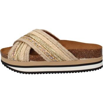 Scarpe Donna ciabatte 5 Pro Ject sandali beige tessuto oro AC586 beige