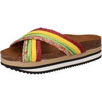 Scarpe Donna ciabatte 5 Pro Ject sandali verde tessuto giallo AC589 Multicolore