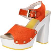 Scarpe Donna Sandali Suky Brand sandali arancione tessuto vernice AC802 arancio