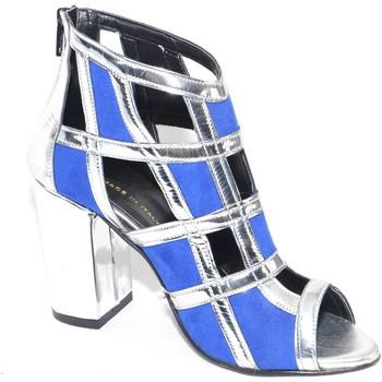 Scarpe Donna Zoccoli Malu Shoes Scarpe tronchetto donna a scacchi forma quadrata forato in specc BLU