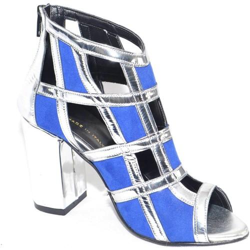 Malu Shoes Scarpe tronchetto donna a scacchi forma quadrata forato in specc BLU - Scarpe Zoccoli Donna 55,00