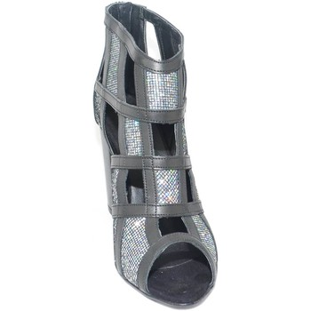 Scarpe Donna Sandali Malu Shoes Tronchetto donna a scacchi forma quadrata forato in pelle nero s NERO