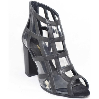 Scarpe Donna Sandali Malu Shoes Scarpe tronchetto donna a scacchi forma quadrata forato in pelle NERO