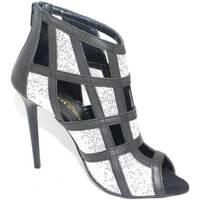 Scarpe Donna Sandali Malu Shoes Scarpe tronchetto donna a scacchi forma quadrata forato in pelle ARGENTO
