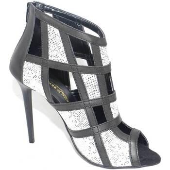 Scarpe Donna Sandali Malu Shoes Scarpe tronchetto donna a scacchi forma quadrata forato in pell ARGENTO