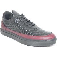 Scarpe Uomo Sneakers basse Made In Italia Sneakers bassa scarpe uomo vera pelle vitello nero e bordeaux NERO