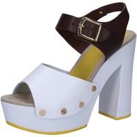 Scarpe Donna Sandali Suky Brand sandali bianco pelle marrone AC809 Multicolore