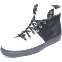 Scarpe Uomo Sneakers alte Made In Italia Scarpe uomo sneakers alta bicolore bianco e nero vera pelle sca BIANCO