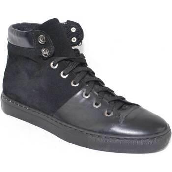 Scarpe Uomo Sneakers alte Made In Italia Sneakers alta scarpe uomo sportivo  vera pelle sca NERO