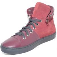 Scarpe Uomo Sneakers alte Made In Italia Sneakers alta scarpe uomo sportivo  vera pelle sca BORDEAUX