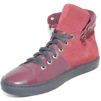 Scarpe Uomo Sneakers alte Made In Italy Sneakers alta scarpe uomo sportivo  vera pelle scamosciata e pel BORDEAUX