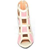 Scarpe Donna Sandali Made In Italy Scarpe tronchetto donna a scacchi forma quadrata forato in pelle BEIGE