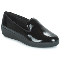 Scarpe Donna Mocassini FitFlop AUDREY SMOKING SLIPPERS CRINKLE PATENT Nero