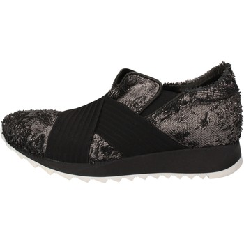 Scarpe Donna Sneakers basse Andia Fora scarpe donna  sneakers argento tessuto nero pelle AD326 Nero