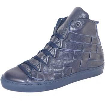 Scarpe Uomo Sneakers alte Malu Shoes Sneakers alta uomo vera pelle bottolato made in italy intreccio BLU