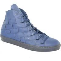 Scarpe Uomo Sneakers alte Malu Shoes Sneakers alta uomo pelle gommato blu matto moda glamour intrecci BLU