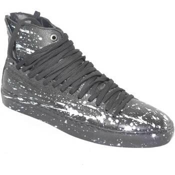 Scarpe Uomo Sneakers alte Made In Italy Sneakers alta uomo rebel  moda giovanile vera pelle NERO