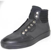 Scarpe Uomo Sneakers alte Made In Italy Sneakers alte uomo vera pelle e tessuto  zip bottoni senza strin NERO