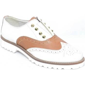 Scarpe Donna Derby Malu Shoes Francesina donna in vera pelle bicolore bianco e cuoio con chius bianco
