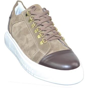 Scarpe Uomo Sneakers basse Made In Italia Sneakers bassa uomo beige e marrone fondo doppio army vera pell BEIGE