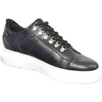 Scarpe Uomo Sneakers basse Made In Italy Sneakers bassa uomo nero fondo doppio army vera pelle nappa ripo NERO
