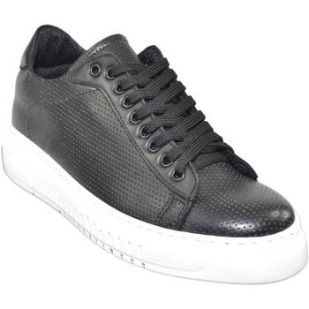 Scarpe Uomo Sneakers basse Made In Italia Sneakers bassa uomo nero fondo doppio army vera pelle microfora NERO
