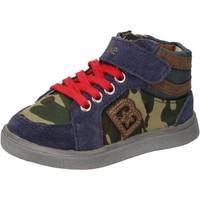 Scarpe Bambino Sneakers alte Blaike sneakers blu camoscio verde pelle AD769 Multicolore