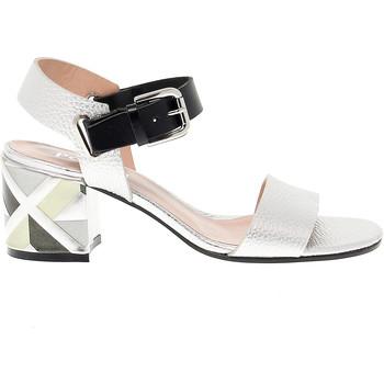 Scarpe Donna Sandali Pollini Sandalo con tacco  in pelle argento,multicolore,nero