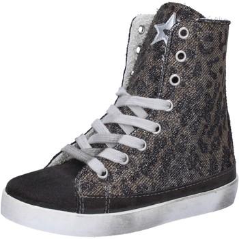 Scarpe Bambina Sneakers alte 2 Stars sneakers grigio camoscio oro tessuto AD884 Grigio