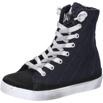 Scarpe Bambina Sneakers 2 Stars sneakers nero tessuto camoscio AD887 Nero