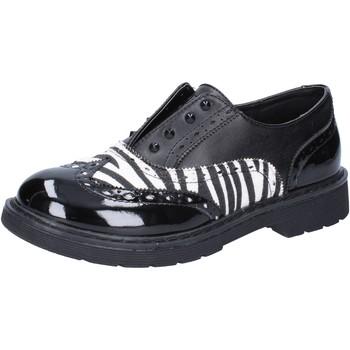 Scarpe Bambina Sneakers basse Enrico Coveri classiche nero pelle bianco vernice AD964 Nero