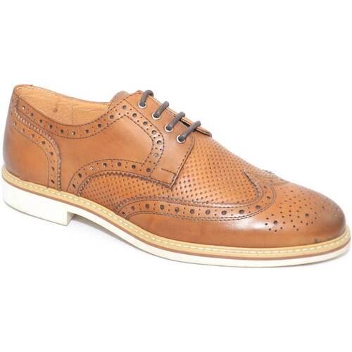 Malu Shoes scarpe uomo stringata inglese colore cuoio microforatura central CUOIO - Scarpe Richelieu Uomo 71,50