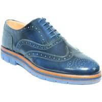 Scarpe Uomo Richelieu Malu Shoes Stringata inglese francesina blu lucido abrasivato fondo micro BLU