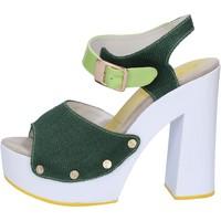 Scarpe Donna Sandali Suky Brand sandali verde tessuto vernice AB314 Verde