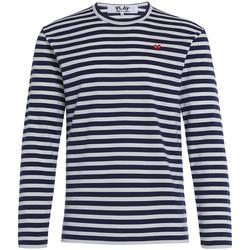 Abbigliamento Uomo T-shirts a maniche lunghe Comme Des Garcons Maglia Play by Comme de Garcon a righe bianche e blu Grigio
