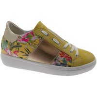 Scarpe Donna Sneakers basse Loren C3785 scarpa donna gialla fiori ortopedica plantare estraibile blu