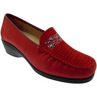 Scarpe Donna Mocassini Loren K3988 mocassino morbidone rosso zeppa ortopedico rosso