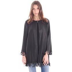 Abbigliamento Donna Giacche / Blazer Desa SPOLVERINO NERO IN PELLE LAVORATA E FRANGE Black