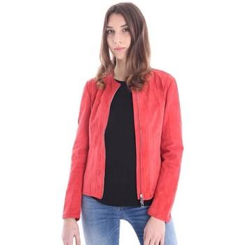 Abbigliamento Donna Giacca in cuoio / simil cuoio Desa GIUBBOTTO ROSSO IN CAMOSCIO Red