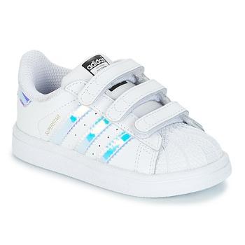 Scarpe Bambina Sneakers basse adidas Originals SUPERSTAR CF I Bianco / Argento