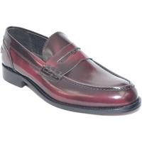 Scarpe Uomo Mocassini Made In Italy scarpe uomo mocassino college bendina fondo cuoio pelle abrasiva bordeaux