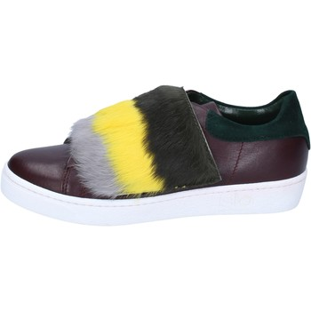 Scarpe Donna Sneakers Islo sneakers bordeaux pelle verde pelliccia BZ212 Multicolore