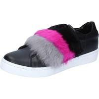 Scarpe Donna Sneakers Islo sneakers nero pelle pelliccia BZ213 Nero