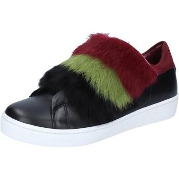 Scarpe Donna Sneakers Islo sneakers nero pelle pelliccia bordeaux BZ214 Nero