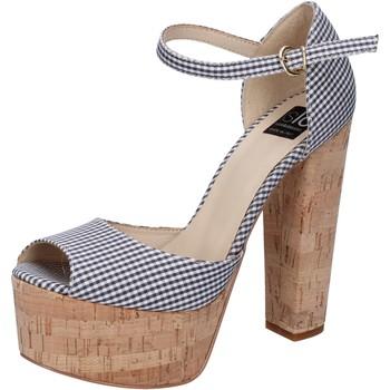 Scarpe Donna Sandali Islo sandali nero tessuto bianco BZ223 Nero