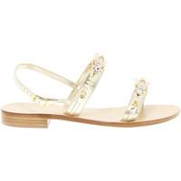 Scarpe Donna Sandali Capri Sandalo basso  in pelle oro