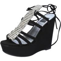 Scarpe Donna Sandali Islo sandali nero camoscio BZ328 Nero