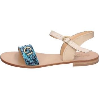 Scarpe Donna Sandali Calpierre sandali verde pelle marrone BZ837 Multicolore