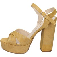 Scarpe Donna Sandali Geneve Shoes sandali giallo tessuto BZ892 Giallo